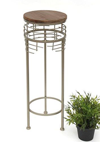 DanDiBo Blumenhocker aus Metall mit Holz Rund 63 cm 21288 Blumenständer Beistelltisch Modern klein