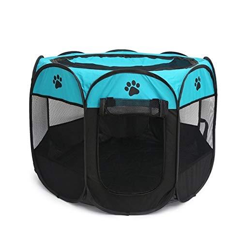 Haustierzelt Tragbares Oxford-Stoff-Katzen-Welpen-Spielen und Übungs-Laufstall-Käfig-atmungsaktives und waschbares achteckiges Haustier-Zaun-Zelt L Blau -