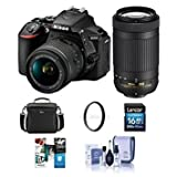 #10: Nikon D5600 DSLR Camera Kit w/AFP DX 18-55mm f/3.5-5.6G VR & AFP DX 70-300/4.5-6.3G Lenses - Bundle with Camera Case, 16GB SDHC Card, Cleaning Kit, 55mm UV Filter, Software Package,