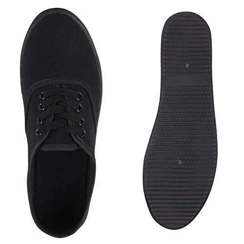 Damen Herren Slipper Sneaker Stoffschuhe Turnschuhe Sommer in mehreren Farben 36-45 Schwarz Total