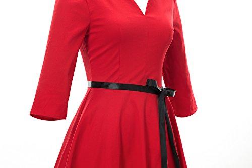 iLover cru rockabilly rétro années 50 cercle complet robe de swing de cocktail v cou Rouge