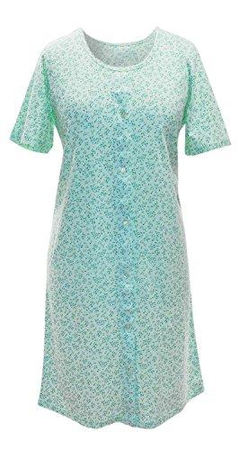 adonia mode Nachthemd Sleepshirt Knopfleiste Streublümchen , Gr. 36/38 , 2 Farben zur Auswahl Grün