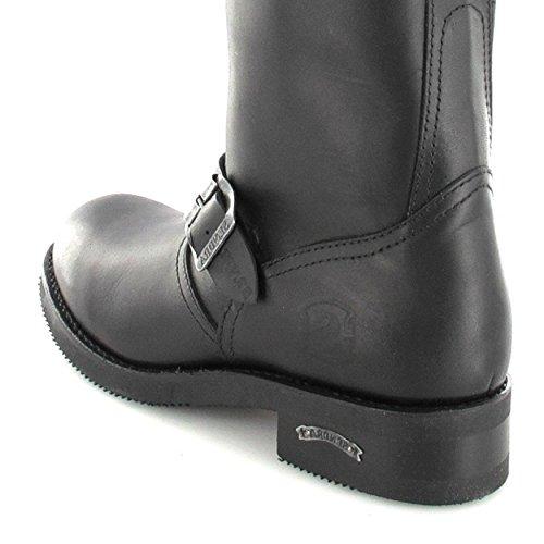 Sendra Boots 2944 Matebox Negro Lederstiefel für Damen und Herren Schwarz Engineerstiefel ohne Stahlkappe Schwarz