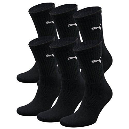 PUMA Unisex Crew Socks Socken Sportsocken MIT FROTTEESOHLE 6er Pack black 200 - 39/42