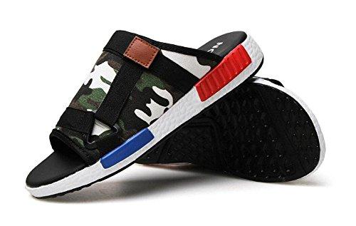 Uomini Slip On Sandali Pattini estivi Pattini casuali Pantofole traspiranti della tela di canapa Un pattino dei mocassini del pedale Camo