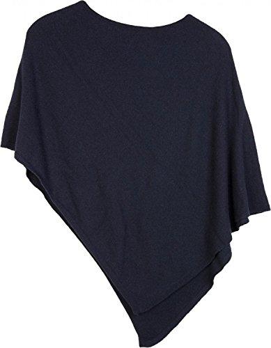 styleBREAKER weicher Feinstrick Poncho in Unifarben, Rundhals, Damen 08010042, Farbe:Midnight-Blue/Dunkelblau Damen Cashmere Cape