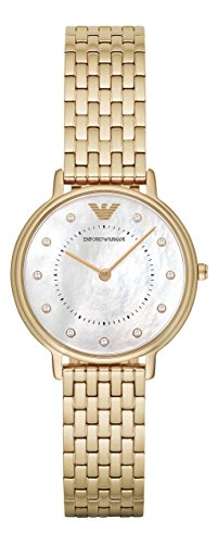 Emporio Armani Damen-Armbanduhr Analog Quarz One Size, perlmutt, gold