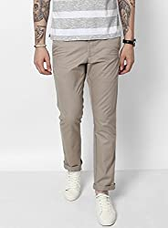 Monte Carlo Light Brown Solid Regular Fit Trouser