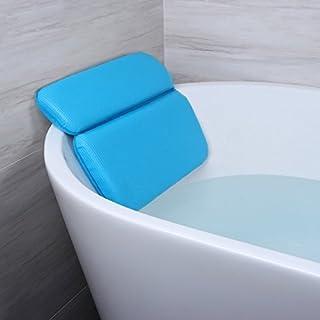 Angelbubbles Bad Kissen Badewannenkissen Starke Zurück Saugnäpfe Rutschfest Memory-Foam für Schulterhalsstütze (Blau)