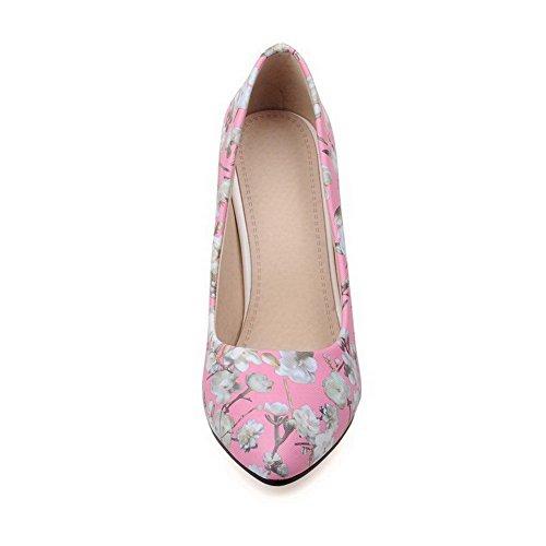 AgooLar Femme Couleurs Mélangées Pu Cuir à Talon Haut Pointu Tire Chaussures Légeres Rose