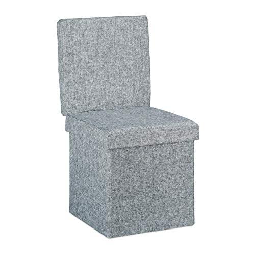 Relaxdays Faltbarer Sitzhocker mit Lehne HBT 73 x 38 x 38 cm Stabiler Sitzcube mit praktischer Fußablage als Sitzwürfel und Sitzbank Leinen als Aufbewahrungsbox und Deckel zum Abnehmen, grau