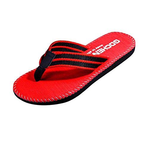 Herren Badeschuhe Slipper,Amcool Hausschuhe Streifen Sandalen Innen- & Draussen Hausschuhe Slippers Rot