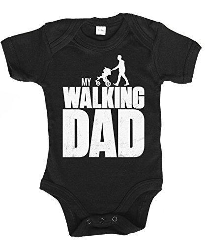 ::: MY WALKING DAD ::: Babybody Schwarz/weißer Druck, Größe 0/3 Monate
