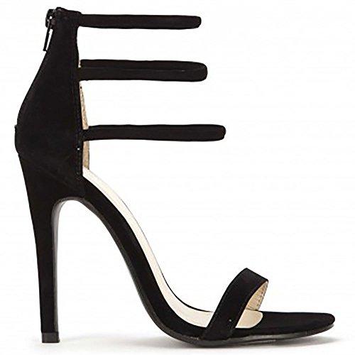 Noir à Peine Là Escarpins Peep Toes Chaussures Strappy Sandales Hauts Talons Noir