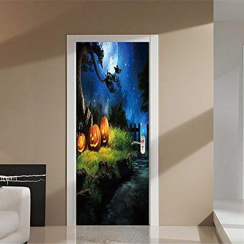 FCFLXJ3D Türaufkleber Halloween Kürbis Poster Wandbild Tapete Stereo Home Hintergrund Schlafzimmer Türdekoration selbstklebend PVC selbstklebend Stereo er 77x200cm (Ziehen Zu Halloween-kürbisse)