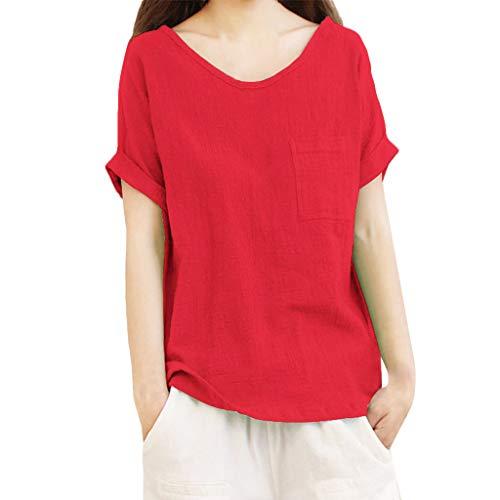 Produp Tops Damenmode Kurzarm Tasche Baumwolle und Leinen Solider Rundhals-Bluse Pullover Tuniken Bequemes T-Shirt