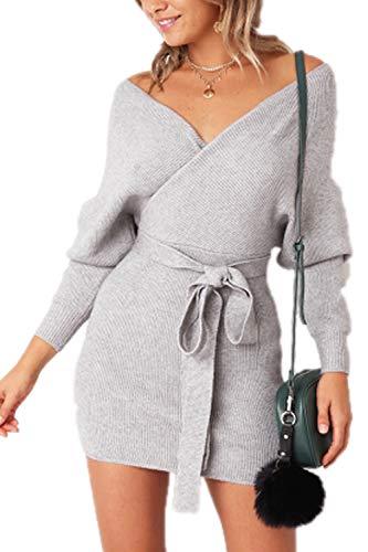 Zonsaoja Donna Maglione Vestito Mini Manica Lunga Scollo a V Abito Maglia Inverno con Cintura Grey S