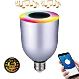 Wefunix Ampoule Bluetooth Haut Parleur Musicale, E27 Ampoule LED Bluetooth Lampe Couleur Changeante 5W Blanc+5W RGB avec Haut Parleur 3W, Contrôlé par l'application par iOS ou Android - BS06 (Argent)