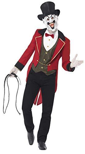 Smiffys costume sinistro direttore di circo, rosso e nero, comprende giacca, camicia fin