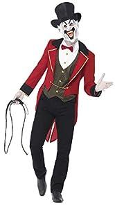 Smiffys-44007M Disfraz de maestro de ceremonias siniestro para hombre adulto de chaqueta, camisa simulada, máscara y sombrero de copa, circo siniestro, Halloween, talla M,