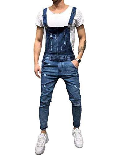 Pizoff Herren Superenge Skinny-Jeans in verwaschenem Blau mit Rissen an den Knien, Am069-01, M