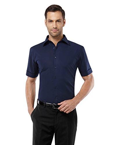 Vincenzo Boretti Herren-Hemd Bügelfrei 100% Baumwolle Kurz-Arm Slim-Fit Tailliert Uni-Farben - Männer Hemden für Anzug mit Krawatte Business Oder Freizeit Dunkelblau 41/42 (Anzug Button-down-hemd,)