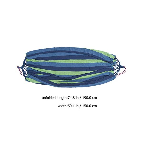 BESPORTBLE Outdoor Canvas Hammocks Anti-roll Leisure Foldable Stripe Swing for Camping Backpacking Travel 190x150cm Blue BESPORTBLE Foldable, easy to use and convenient to carry. Only to fold your hammock, you can carry it conveniently. The hammock is made of premium material which is very comfortable and durable for use, and features stripes pattern. 8