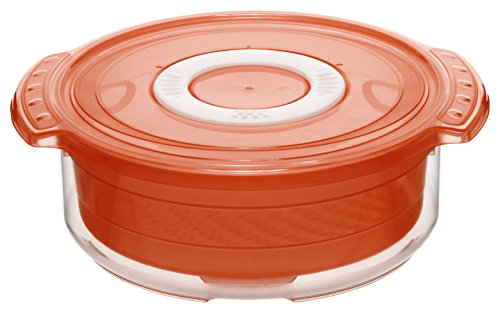 Rotho Micro Clever Dampfgarer für die Mikrowelle, Kunststoff (BPA-frei), rot / weiss, 1.4 Liter (23 x 20 x 7,5 cm)