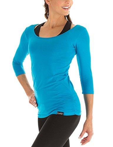 Winshape Damen Fitness Yoga Pilates 3/4-Arm Shirt WS4, Türkis, Gr. L