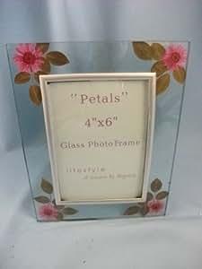 Cadre photo en verre avec Daisy Rose Pétales conception, 10,2x 15,2cm photo, r43262pdaisy