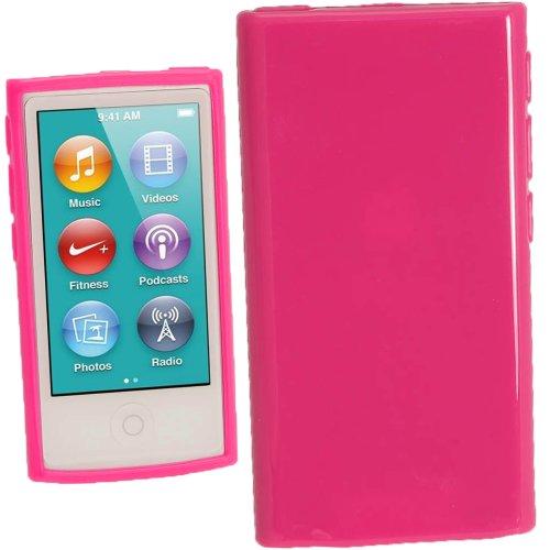 igadgitz Rosa Glänzend Dauerhafte Kristall Gel Tasche TPU Hülle Schutzhülle Etui für Apple iPod Nano 7. Gen Generation 7G 16GB + Displayschutzfolie - 3. Gb Nano Ipod Generation 16