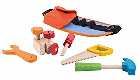 Jouéco 80022 - Holz-Werkzeuggürtel für Kinder mit passendem Werkzeug 9 teilig