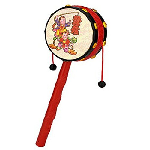cooplay-1pc-red-festival-rattle-drum-percussion-childrens-musical-toy-baby-hand-fun-gift