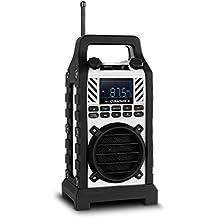 Duramaxx 862-BTD-WH Bluetooth Lautsprecher Baustellenradio (DAB / DAB+, MP3-fähige USB-SD-Slots, AUX-Eingang, spritzwassergschützt, LED-Display, Netz- und Batteriebetrieb) weiß