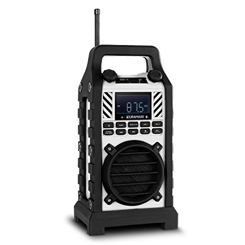Duramaxx Baustellenhero radio stereo da cantiere multifunzione portatile cassa fullrange integrata (dispositivo audio outdoor, DAB/DAB+, FM, USB, SD, MP3, bluetooth) - bianco