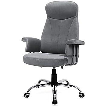 Songmics Bürostuhl mit hoher Rückenlehne, Velours, schwarz
