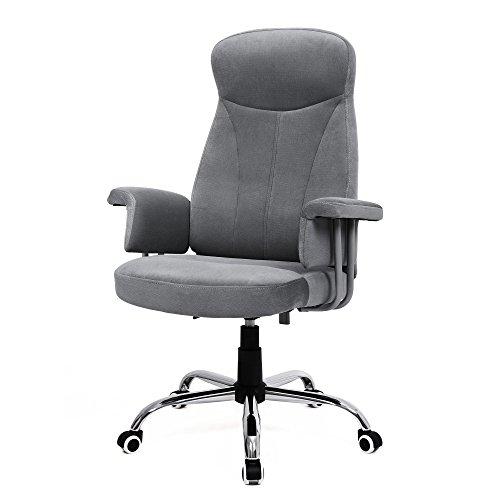 SONGMICS Drehstuhl mit Hoher Rückenlehne, Höhenverstellbarer Bürostuhl mit Samtbezug,Grau, OBG41G