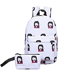Zibuyu 2pcs New Fashion 3D Nylon Cute Smile Print Backpack Travel School Bag - B07CPFDGKV