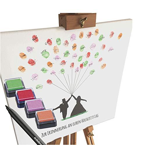 KATINGA Leinwand zur Hochzeit - Motiv BRAUTPAAR MIT Ballons mit Spruch - als Gästebuch für Fingerabdrücke (40x40cm, inkl. Stift + Stempelkissen)