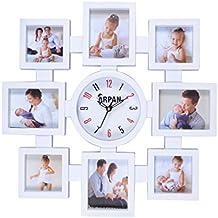 Arpan - Portafoto multiplo con orologio da parete e 8 cornici, ideale per la cucina o il salotto di casa e per l'ufficio, idea regalo - White