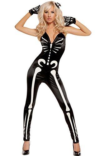 Damen Glühen Skelett/Knochengerüst Halloween Kostüm Jumpsuit/Bodysuit und Handschuhe Größe 38-40 (Damen Skelett Kostüm Bodysuit)