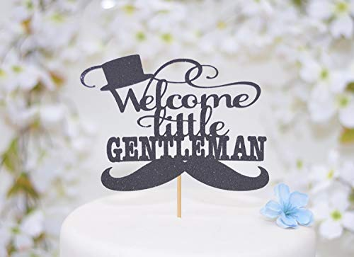 Welcome Little Man Baby Shower Cake Topper Welcome Little Gentleman Moustache Top Hat Bow Tie (Tree Topper Bow)