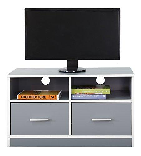 Absolute Deal TV Ständer Schrank mit 2 Schubladen und Regal, Holz, grau (2 Schubladen Tv-ständer)