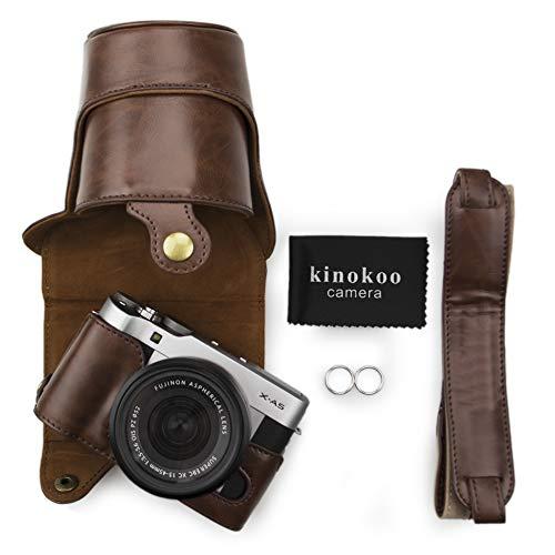 Kinokoo Étui Canon en cuir PU  pour appareil photo  Fujifilm X-A3, Fujifilm X-A10et objectif de 16–50mm avec bandoulière et chiffon de nettoyage