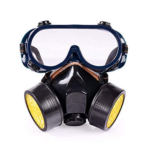 Dämpfe Atemschutzmaske Patrone (MOXIN Profi Gasmaske Atemschutzmaske Aktivkohle chemikalien Staubschutz Lackierer Dämpfe mit 2 Filtern Anti-Staub, Pestizide,Black)