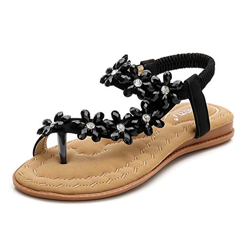 Minetom Damen Sandals Frauen Sandalen Sommer Bohemian Strass Blumen Flach Sandaletten PU Leder Zehentrenner Boho T-Strap Clip Toe Flip Flops A Schwarz 39 EU
