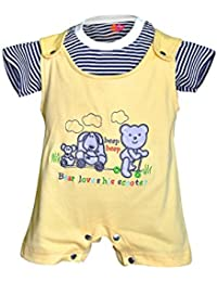 Orange and Orchid Cotton Baby Boy's Dungaree Set