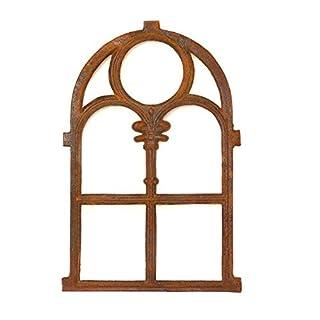 Antikas Stallfenster aus Gusseisen in Antik Optik | ca. 72,5 x 45,5 cm| Eisenfenster für Gartenmauer (rostig), rustikaler Look, Kirchenfenster