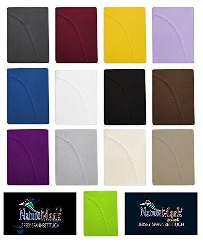 Spannbettlaken, Spannbetttuch Jersey 100% Baumwolle in zwei Ausführungen Standard und Exclusiv-Select im direkten Vergleich, 4 Größen, 13 Farben - Jersey Spannbettlaken Standard ca. 125g/qm 180x200 bis 200x200 cm - Natur