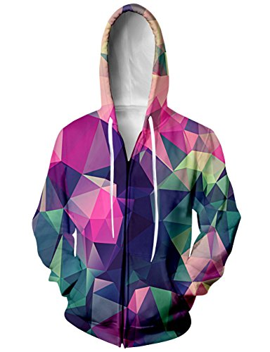 (Chicolife Unisex Regenbogen - Geometrische Figuren Farbblock Jersey Full Zip Baseball Kapuzen - Sweatshirt - Jacke XL)